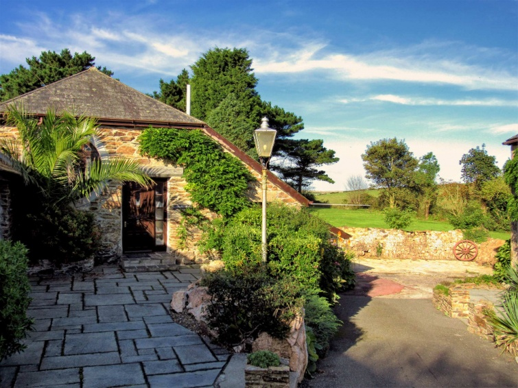 Looking from the Courtyard to the Large Gardens of Hendra Paul Holiday Cottages Newquay